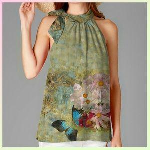 Green Floral Tie Neck Top